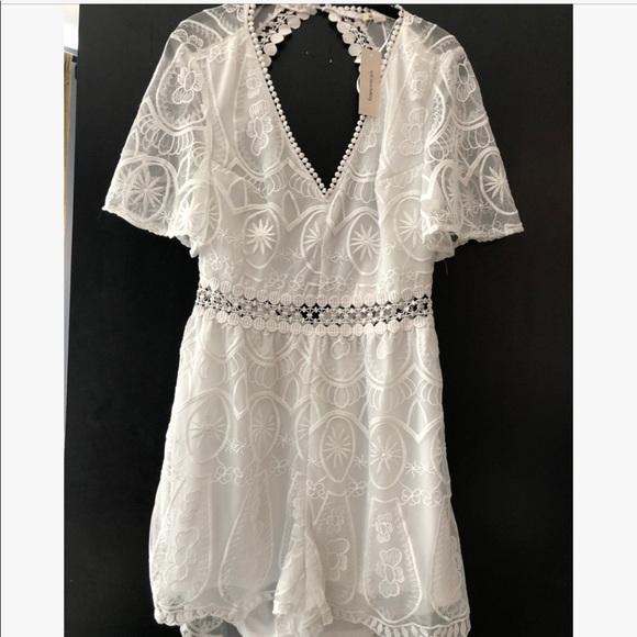 6886cf9e202f NWT white lace romper jumpsuit bachelorette